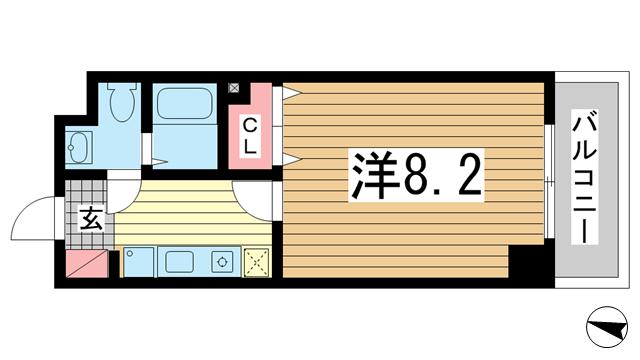 物件番号: 1025875652 カリエンテ三宮  神戸市中央区小野柄通3丁目 1K マンション 間取り図