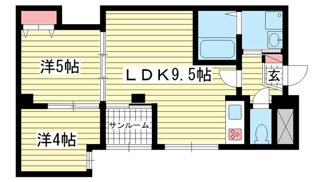 物件番号: 1025875658 丸山ビル  神戸市兵庫区下沢通1丁目 2LDK マンション 間取り図