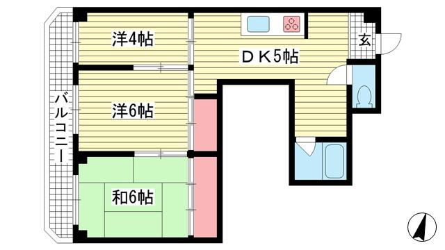 物件番号: 1025875659 金物ビル  神戸市中央区下山手通8丁目 3DK マンション 間取り図