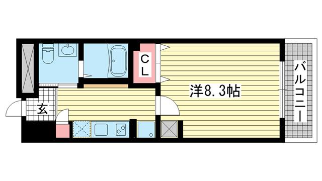 物件番号: 1025876641 グラージェ三宮  神戸市中央区旭通5丁目 1K マンション 間取り図