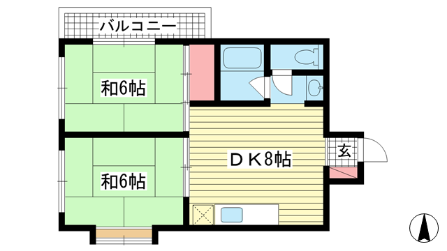 物件番号: 1025876643 エバーグリーンテラス  神戸市中央区山本通3丁目 2DK マンション 間取り図