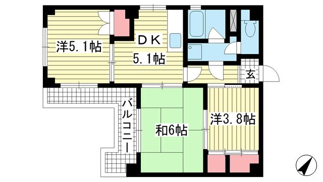 物件番号: 1025876644 イーデンハイツ神戸  神戸市兵庫区新開地3丁目 3DK マンション 間取り図