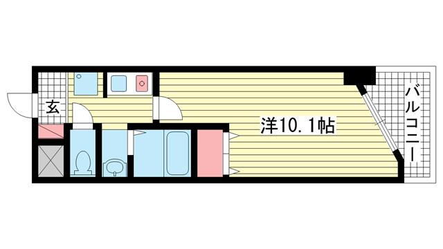 物件番号: 1025876656 ブリックロード・山の手  神戸市中央区下山手通8丁目 1K マンション 間取り図