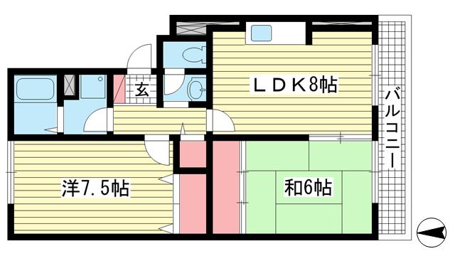 物件番号: 1025881029 フレンド灘北  神戸市灘区灘北通3丁目 2LDK マンション 間取り図