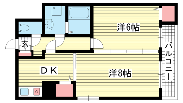 物件番号: 1025881031 メゾン・ティファニー  神戸市兵庫区西上橘通2丁目 2DK マンション 間取り図