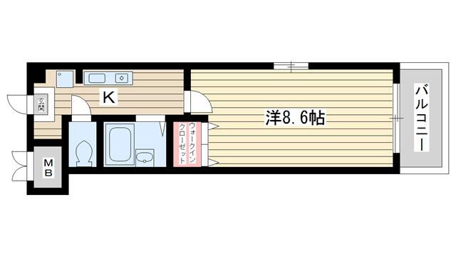 物件番号: 1025881041 アートプラザ神戸西  神戸市西区前開南町2丁目 1K マンション 間取り図