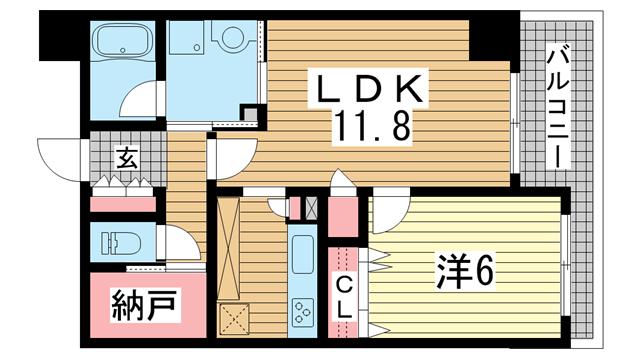 物件番号: 1025881044 アーバネックス元町通  神戸市中央区元町通6丁目 1LDK マンション 間取り図