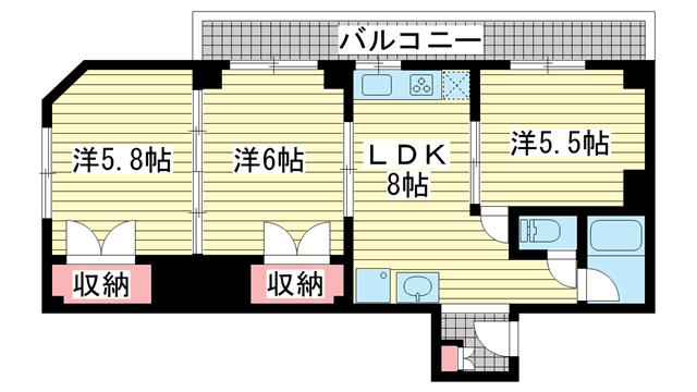 物件番号: 1025881065 シャトレイユ  神戸市垂水区泉が丘3丁目 3LDK マンション 間取り図