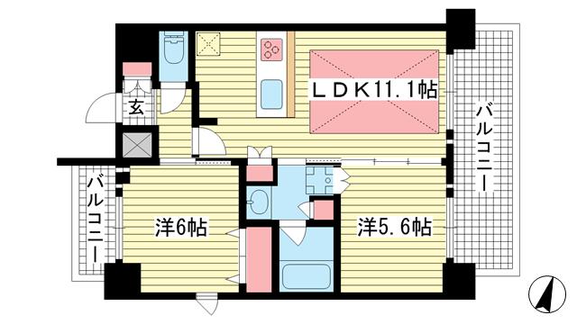 物件番号: 1025881067 プレサンス三宮東フィール  神戸市中央区筒井町3丁目 2LDK マンション 間取り図