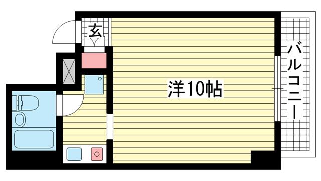 物件番号: 1025881078 ライオンズマンション神戸西元町  神戸市中央区北長狭通8丁目 1K マンション 間取り図