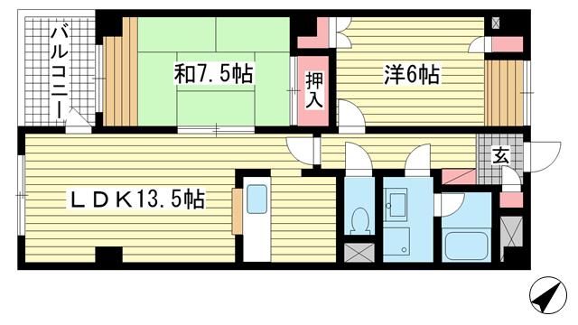 物件番号: 1025881108 リバーコート湊川Ⅱ  神戸市兵庫区荒田町3丁目 2LDK マンション 間取り図