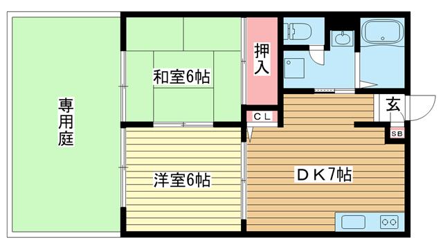 物件番号: 1025881112 MKハイツ  神戸市東灘区住吉山手8丁目 2DK ハイツ 間取り図