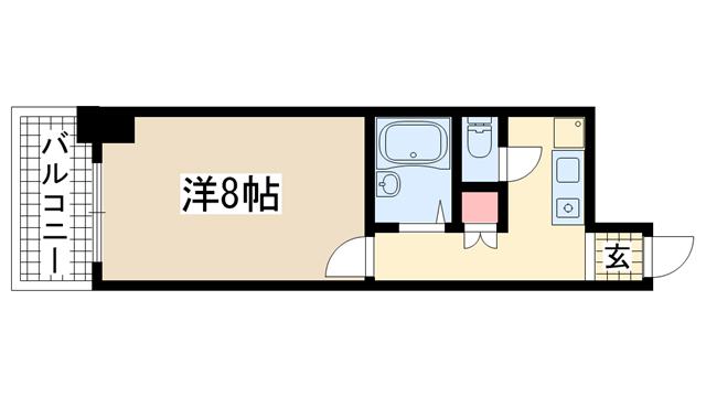物件番号: 1025881113 摂建ビルド  神戸市兵庫区上沢通2丁目 2K マンション 間取り図