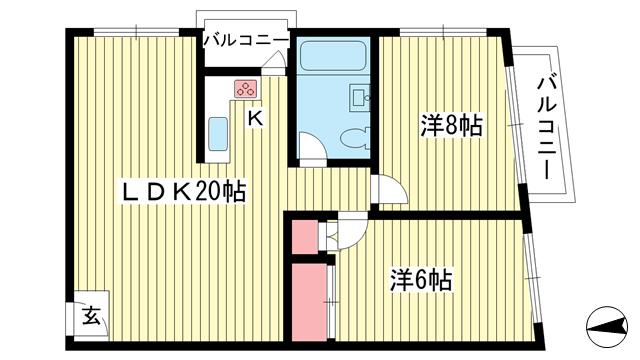 物件番号: 1025881115 第2スカイマンション  神戸市中央区北野町4丁目 2LDK マンション 間取り図
