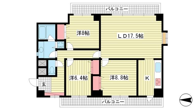 物件番号: 1025881117 グランドール熊内  神戸市中央区熊内町1丁目 3LDK マンション 間取り図