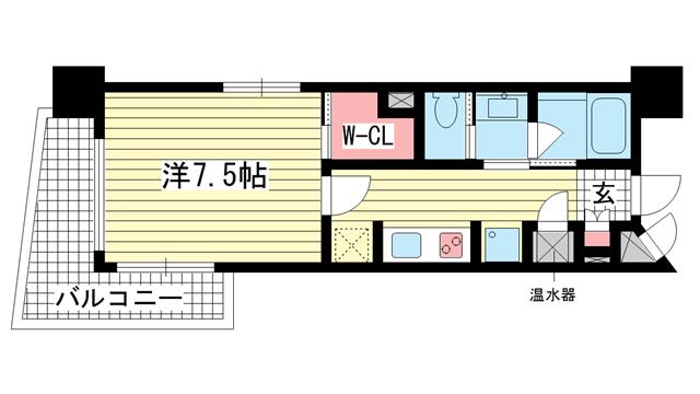物件番号: 1025881119 ジークレフ神戸元町  神戸市中央区元町通6丁目 1K マンション 間取り図