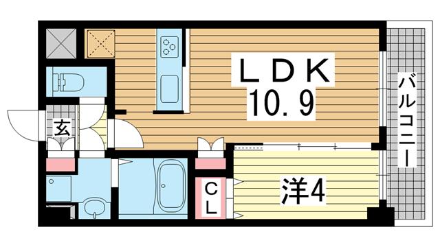 物件番号: 1025881122 KMS新生水木通  神戸市兵庫区水木通4丁目 1LDK マンション 間取り図