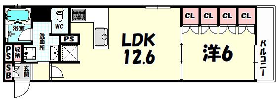 物件番号: 1025881139 リーガル神戸三宮フラワーロード  神戸市中央区八幡通4丁目 1LDK マンション 間取り図