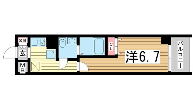 物件番号: 1025881152 メゾン三宮若菜通  神戸市中央区若菜通5丁目 1K マンション 間取り図