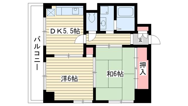 物件番号: 1025881155 シャトーソフィア  神戸市中央区相生町4丁目 2DK マンション 間取り図