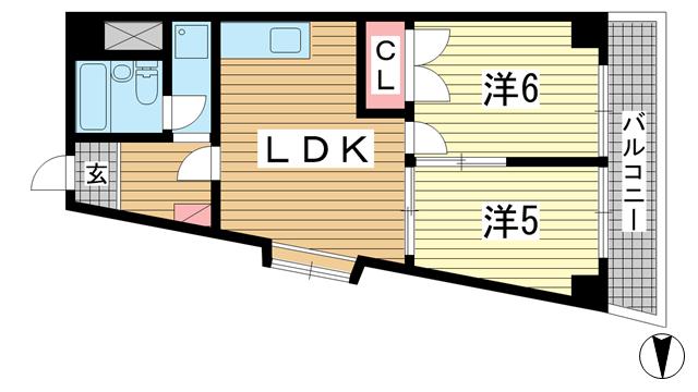物件番号: 1025881160 グレイスハイツ新神戸  神戸市中央区布引町2丁目 2LDK マンション 間取り図