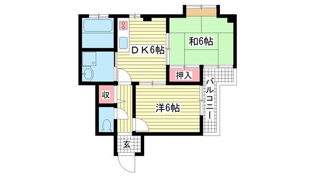 物件番号: 1025881169 ハイツT's  神戸市兵庫区松本通3丁目 2DK マンション 間取り図