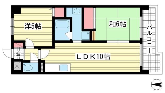 物件番号: 1025881172 サンエービル  神戸市兵庫区門口町 2LDK マンション 間取り図