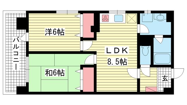 物件番号: 1025881173 黒瀬ビル  神戸市兵庫区兵庫町2丁目 2LDK マンション 間取り図