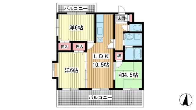 物件番号: 1025881191 プレイス榎本  神戸市兵庫区上沢通4丁目 3LDK マンション 間取り図