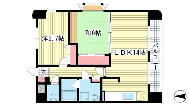 物件番号: 1025881202 サントピア須磨  神戸市須磨区行幸町1丁目 2LDK マンション 間取り図
