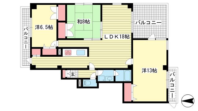 物件番号: 1025881214 サンコート阪急六甲  神戸市灘区山田町1丁目 3LDK マンション 間取り図