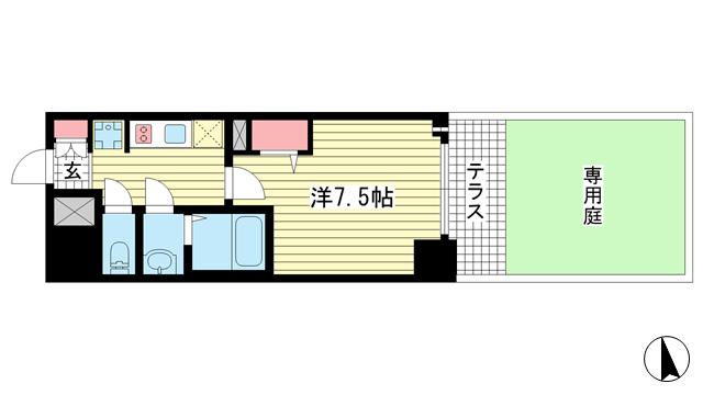 物件番号: 1025881219 プレサンス THE 神戸  神戸市兵庫区西出町 1K マンション 間取り図