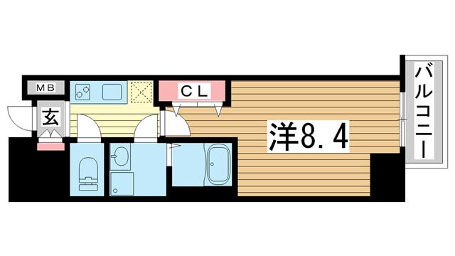 物件番号: 1025881226 ファーストステージ神戸ハーバーランド  神戸市中央区古湊通1丁目 1K マンション 間取り図
