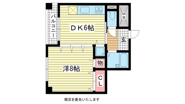 物件番号: 1025881231 M&Cビル  神戸市中央区御幸通2丁目 1DK マンション 間取り図