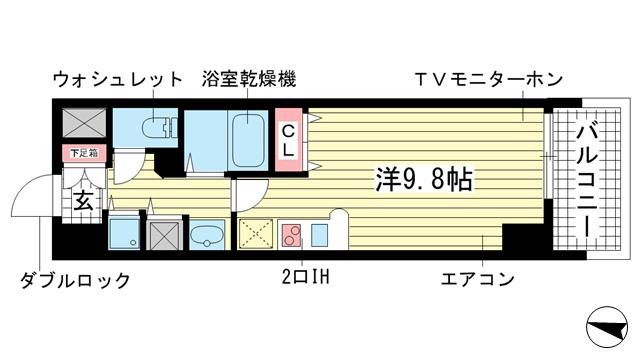 物件番号: 1025881281 カスタリア三宮  神戸市中央区磯辺通3丁目 1R マンション 間取り図