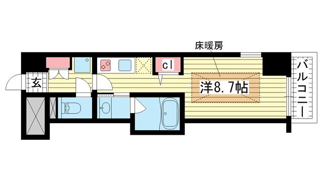 物件番号: 1025881283 J-cube KOBE  神戸市中央区楠町6丁目 1K マンション 間取り図