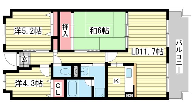 物件番号: 1025881285 摩耶コート壱番館  神戸市灘区都通2丁目 3LDK マンション 間取り図