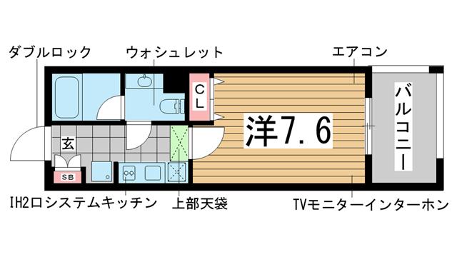 物件番号: 1025881292 インベスト神戸エアフロント  神戸市中央区北本町通4丁目 1K マンション 間取り図
