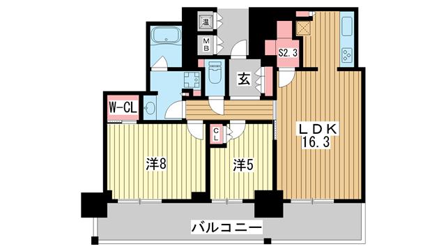 物件番号: 1025881307 アーバンライフ神戸三宮ザ・タワー  神戸市中央区加納町6丁目 2SLDK マンション 間取り図