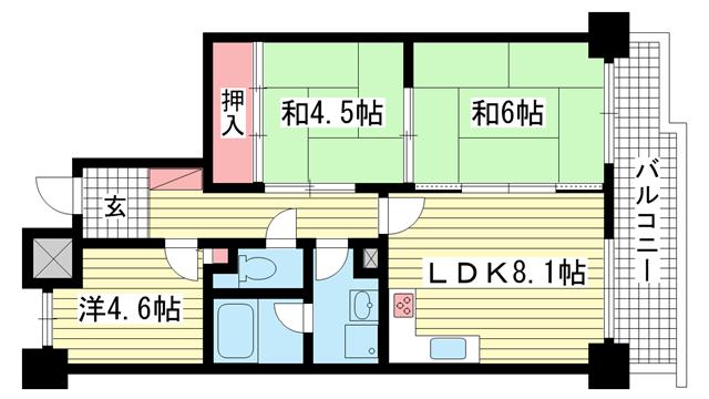 物件番号: 1025881313 サンワプラザ新神戸  神戸市中央区二宮町1丁目 3LDK マンション 間取り図