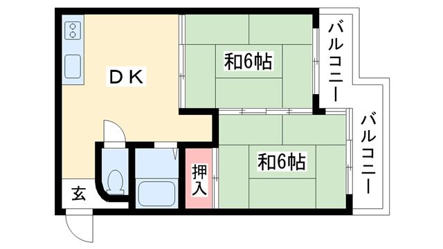 物件番号: 1025881315 ルミエール大石  神戸市灘区灘南通1丁目 2DK マンション 間取り図