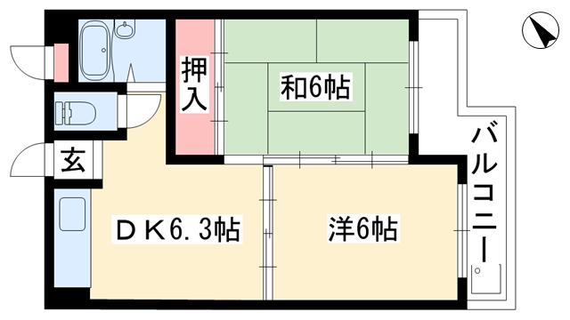 物件番号: 1025881316 ルミエール大石  神戸市灘区灘南通1丁目 2DK マンション 間取り図