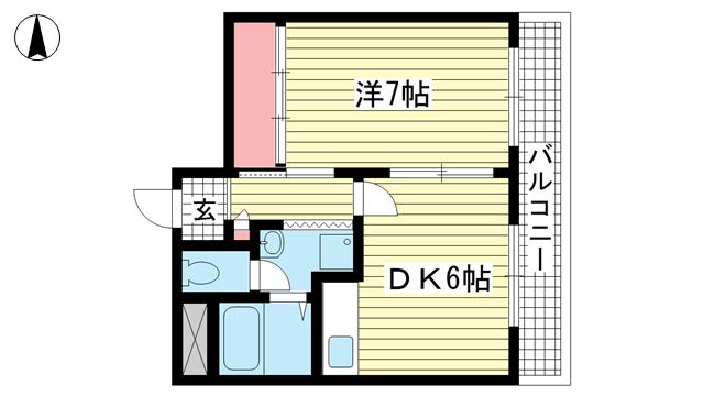 物件番号: 1025881318 メゾン三宮  神戸市中央区二宮町4丁目 1DK マンション 間取り図