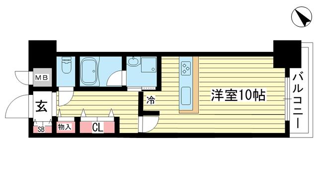 物件番号: 1025881327 ウォームスヴィル元町通  神戸市中央区元町通4丁目 1R マンション 間取り図
