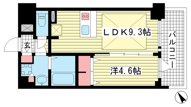 物件番号: 1025881329 プレサンス THE 神戸  神戸市兵庫区西出町 1LDK マンション 間取り図