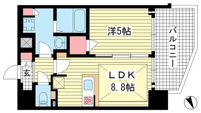 物件番号: 1025881330 プレサンス THE 神戸  神戸市兵庫区西出町 1LDK マンション 間取り図