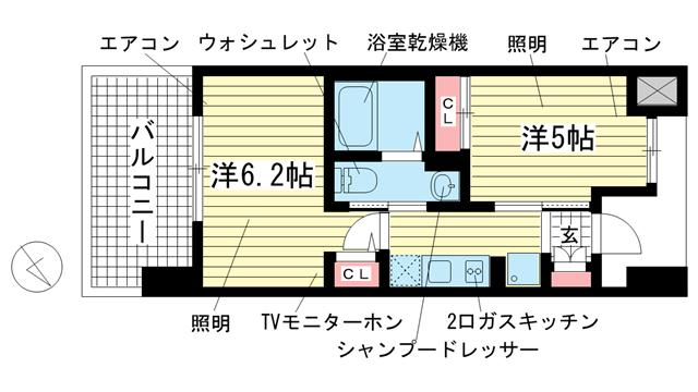 物件番号: 1025881342 エステムプラザ神戸西Ⅴミラージュ  神戸市兵庫区西宮内町 2K マンション 間取り図