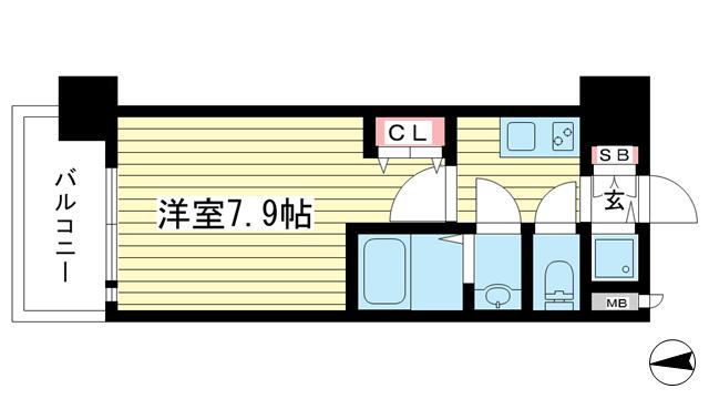 物件番号: 1025881348 エスライズ新神戸Ⅱ  神戸市中央区生田町2丁目 1K マンション 間取り図