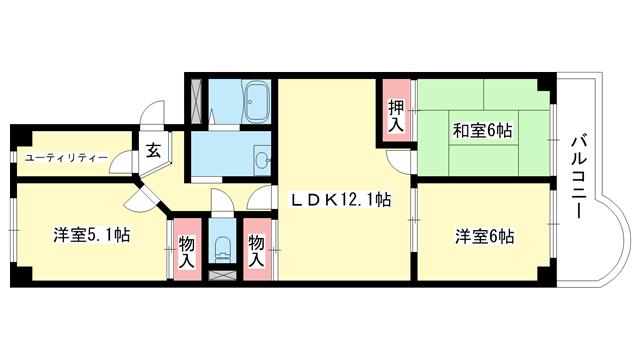 物件番号: 1025881356 熊内台セントポリア  神戸市中央区葺合町字蝉山 3SLDK マンション 間取り図
