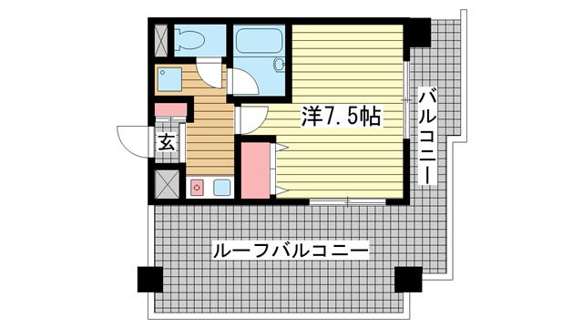 物件番号: 1025881359 ラナップスクエア三宮プライム  神戸市中央区雲井通3丁目 1K マンション 間取り図